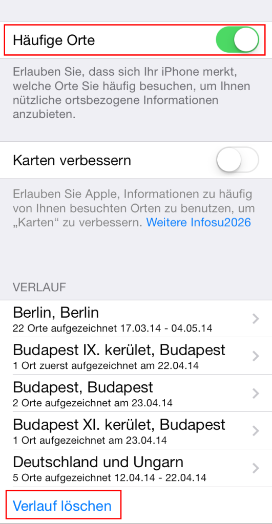 So schaltet man in iOS7 Frequent Locations ab